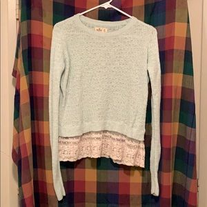 Hollister Sweater with Lace Accents.